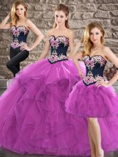 Pretty Purple Sweetheart Neckline Beading and Embroidery Quinceanera Gown Sleeveless Lace Up