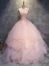 Pink Scoop Lace Up Appliques and Ruffles Quinceanera Gown Sleeveless