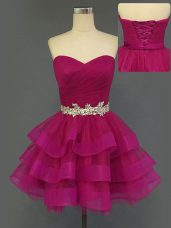 Mini Length Lace Up Prom Dress Fuchsia for Prom and Party with Beading and Ruffled Layers and Ruching