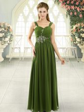 Luxurious Olive Green Spaghetti Straps Neckline Beading and Ruching Casual Dresses Sleeveless Lace Up