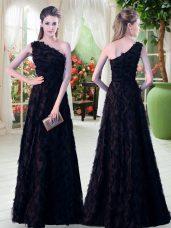 Custom Designed Black Sleeveless Floor Length Appliques Zipper Dress for Prom