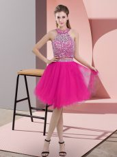 Hot Pink Backless Halter Top Beading Party Dress Wholesale Organza Sleeveless
