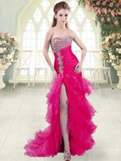 Glorious Fuchsia Sweetheart Lace Up Beading and Ruffled Layers Prom Gown Brush Train Sleeveless