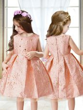 Pink Scoop Zipper Embroidery Pageant Dress for Girls Sleeveless