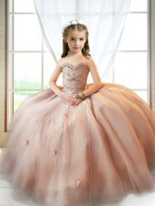 Superior A-line Pageant Dress Womens Pink Sweetheart Tulle Sleeveless Floor Length Lace Up