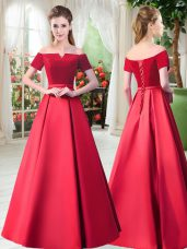 New Style Off The Shoulder Short Sleeves Prom Party Dress Floor Length Belt Red Satin