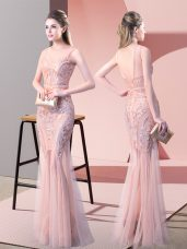Classical Pink Mermaid Tulle Scoop Sleeveless Sequins Floor Length Backless Prom Gown