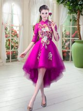 Fuchsia Prom Party Dress Prom and Party with Appliques High-neck Half Sleeves Zipper