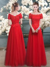 Custom Designed Red A-line Tulle Off The Shoulder Short Sleeves Lace Floor Length Lace Up Prom Party Dress