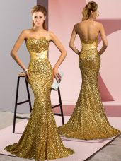 Gold Zipper Prom Dress Beading Sleeveless Sweep Train