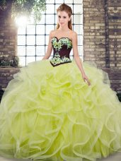 Embroidery and Ruffles Sweet 16 Dress Yellow Green Lace Up Sleeveless Sweep Train