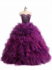 Floor Length Lace Up Quinceanera Dress Purple for Military Ball and Sweet 16 and Quinceanera with Beading and Ruffles