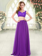 Stunning Floor Length Zipper Teens Party Dress Purple for Prom and Party with Beading and Lace