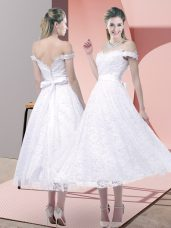 White Criss Cross Strapless Belt Prom Evening Gown Lace Sleeveless