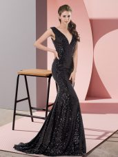 Romantic Black Lace Up Evening Dresses Beading Sleeveless Sweep Train