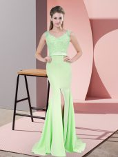 V-neck Sleeveless Sweep Train Zipper Prom Dress Apple Green Chiffon