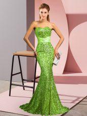 Sequined Zipper Sweetheart Sleeveless Dress for Prom Sweep Train Beading