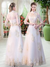 Tulle High-neck 3 4 Length Sleeve Zipper Appliques Formal Evening Gowns in White