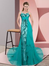 Admirable Sleeveless Beading and Lace Zipper Prom Gown with Teal Sweep Train