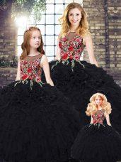 Pretty Black Ball Gowns Embroidery and Ruffles 15 Quinceanera Dress Zipper Organza Sleeveless Floor Length