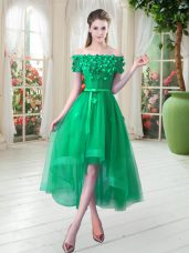 Short Sleeves High Low Appliques Lace Up Prom Party Dress with Green
