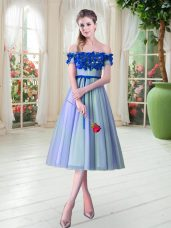 Off The Shoulder Sleeveless Lace Up Prom Party Dress Blue Tulle