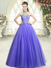 Halter Top Sleeveless Floor Length Beading Lavender Tulle