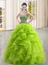 Clearance Yellow Green Organza Lace Up Sweetheart Sleeveless Floor Length Sweet 16 Dresses Beading and Ruffles