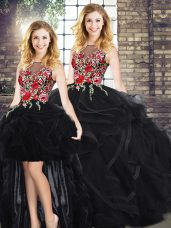 Black Zipper Quince Ball Gowns Embroidery and Ruffles Sleeveless Floor Length