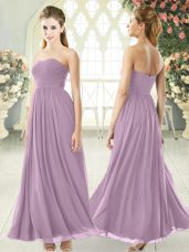 New Arrival Purple Chiffon Zipper Custom Made Sleeveless Ankle Length Ruching
