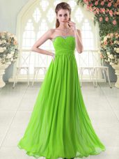 Sweetheart Sleeveless Prom Dresses Floor Length Beading and Ruching Chiffon