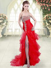 Sumptuous Mermaid Sleeveless Red Prom Dress Brush Train Lace Up