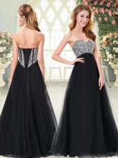 Black A-line Tulle Sweetheart Sleeveless Beading Floor Length Lace Up Prom Gown