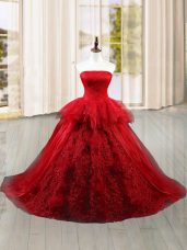 Strapless Sleeveless Tulle Vestidos de Quinceanera Lace and Ruffles Brush Train Lace Up