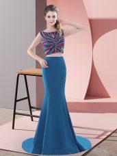 Edgy Satin Sleeveless Prom Dresses Sweep Train and Beading