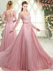 Pink Zipper Evening Dress Beading Long Sleeves Sweep Train
