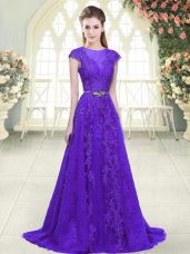 Attractive Cap Sleeves Tulle Brush Train Zipper Prom Gown in Purple with Lace and Appliques