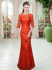 Orange Red Zipper Scoop Half Sleeves Floor Length Evening Dress Lace