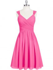 Fashion Pink Sleeveless Chiffon Zipper Prom Gown for Prom and Party