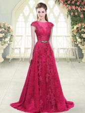 Shining Pink A-line Beading and Lace and Appliques Prom Dresses Zipper Tulle Cap Sleeves