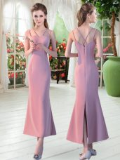 Pink Sleeveless Satin Zipper Prom Gown for Prom and Party