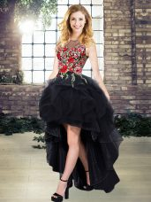 Deluxe Organza Sleeveless High Low Dress for Prom and Embroidery