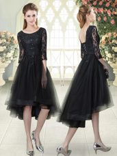 Tulle Half Sleeves High Low and Lace