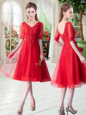 Most Popular Red V-neck Neckline Beading and Appliques Prom Evening Gown Half Sleeves Lace Up