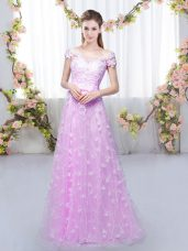 Lilac Cap Sleeves Tulle Lace Up Bridesmaid Gown for Prom and Party and Wedding Party