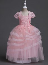 Modest Baby Pink Ball Gowns Appliques Flower Girl Dresses Zipper Tulle Sleeveless Floor Length