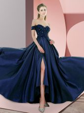 Fancy Sleeveless Sweep Train Backless Beading Prom Dresses