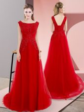 Bateau Sleeveless Homecoming Dress Sweep Train Beading and Appliques Red Tulle