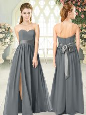 Romantic Chiffon Sleeveless Floor Length Dress for Prom and Belt