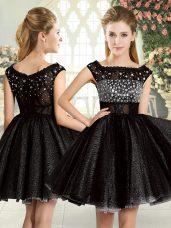 Fabulous Sleeveless Zipper Mini Length Beading Prom Dress